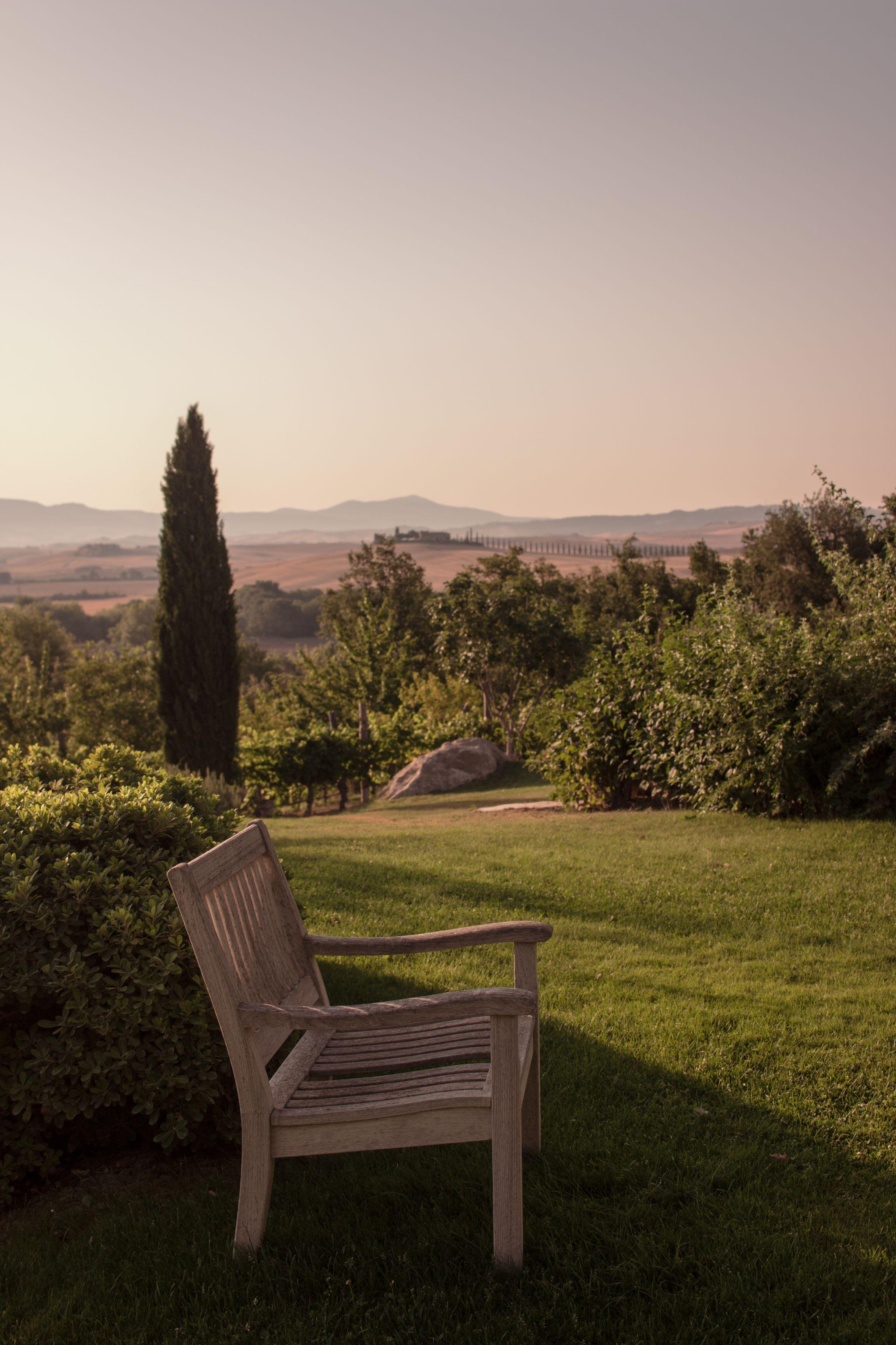 Adler Thermae Hotel Tuscany Hospitality Brand Hotel Travel Photography sunset bench
