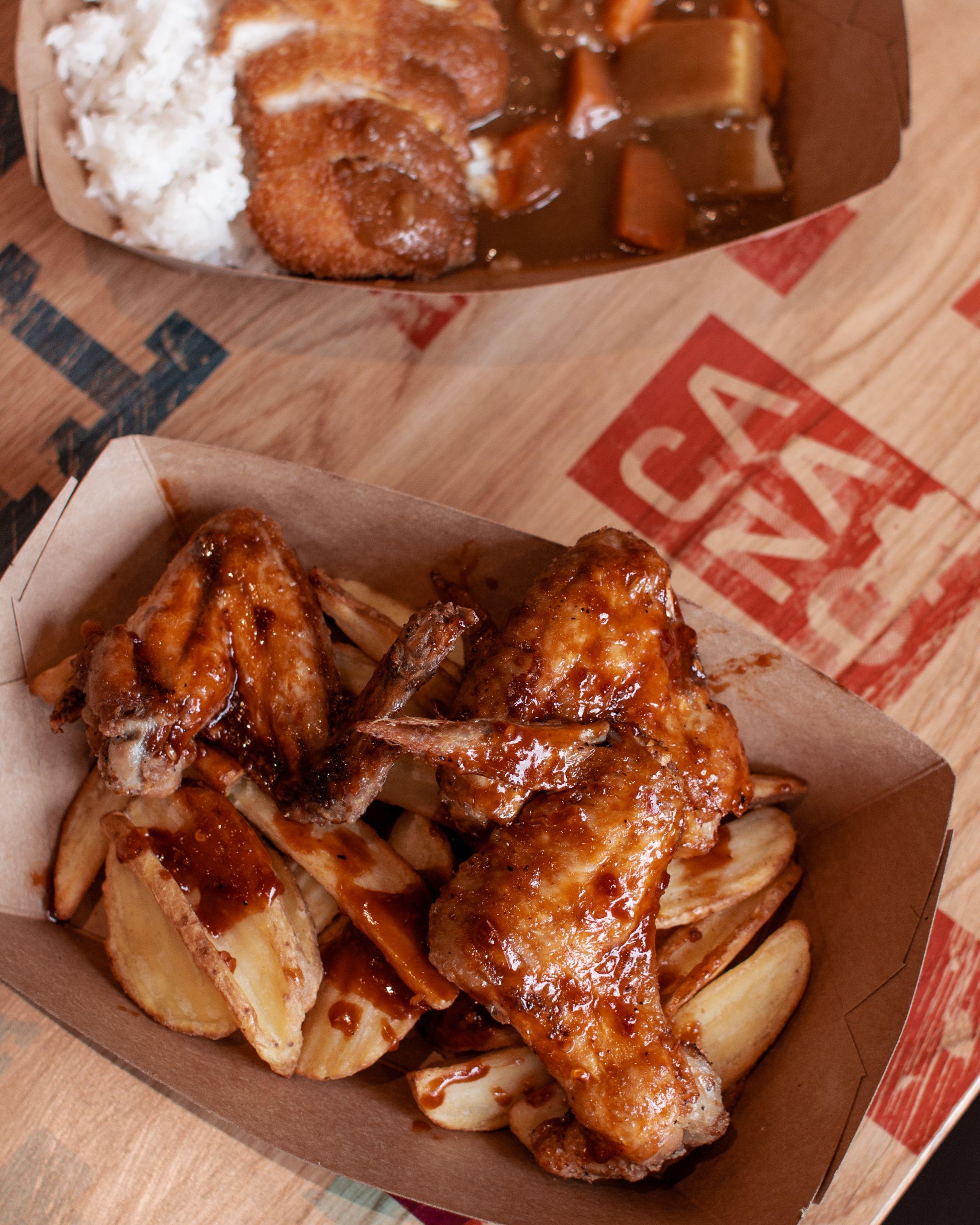 Canaca Street Food Menu Photography chicken wings flat lay