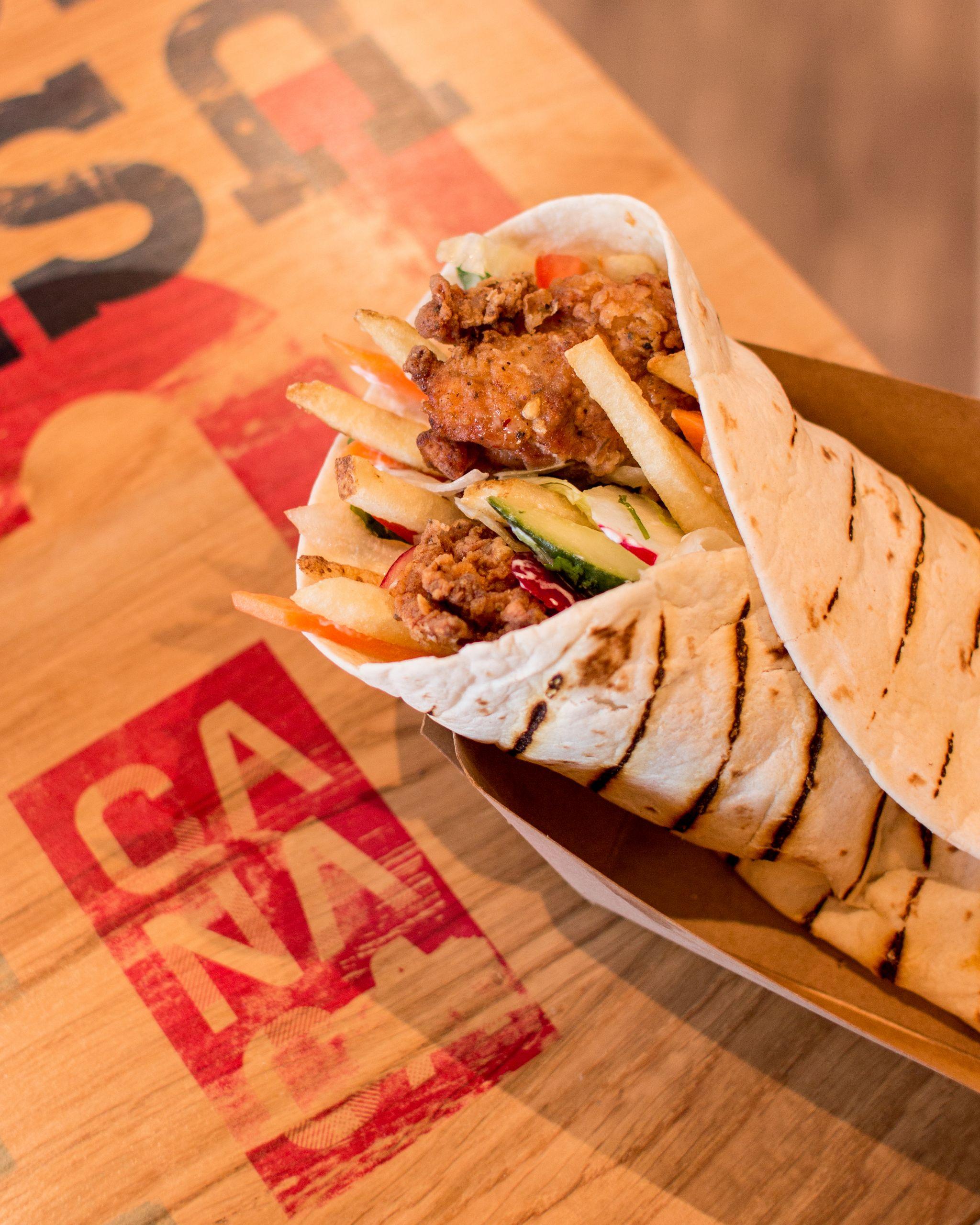 Canaca Street Food Menu Photography chicken wrap
