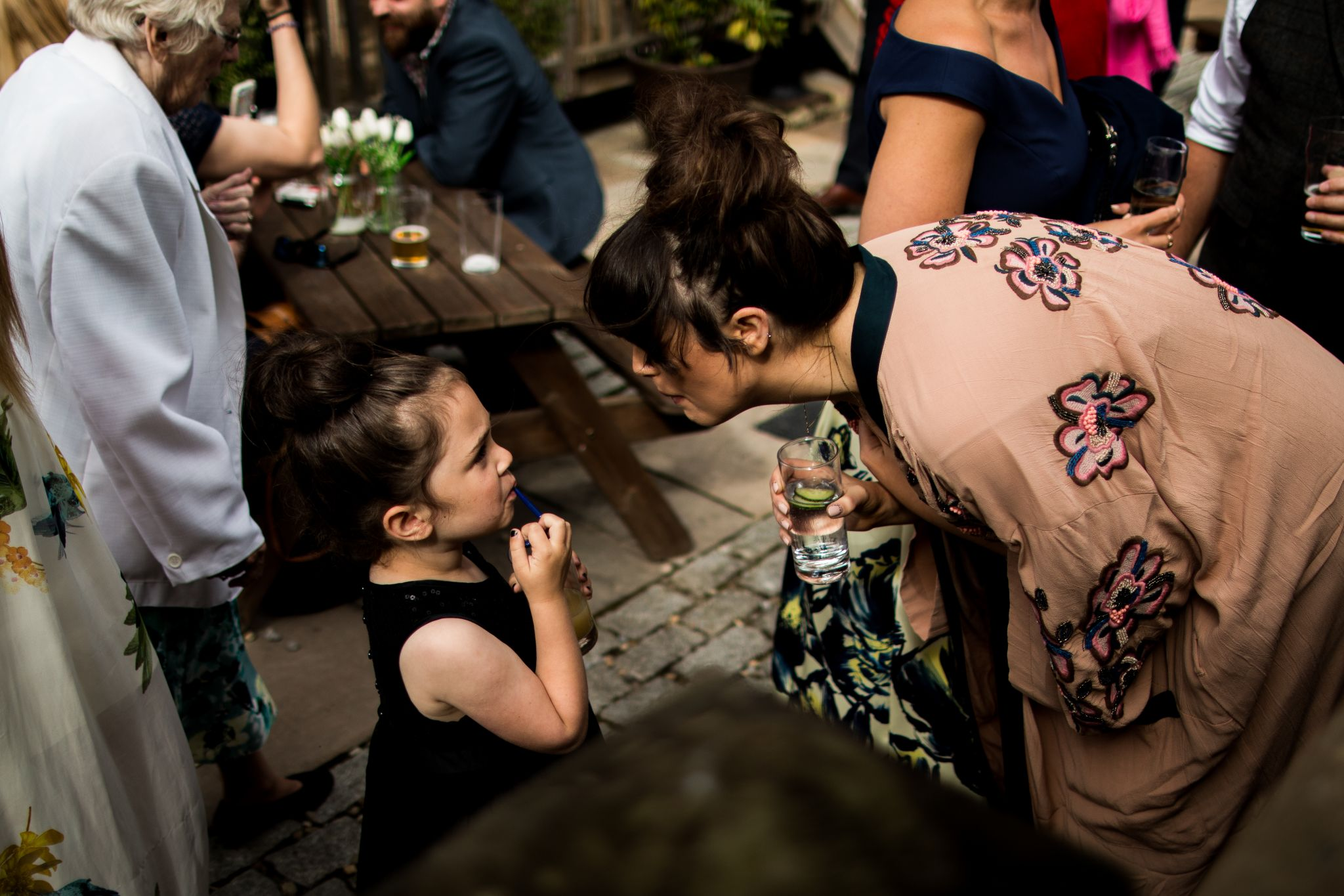 hannah layford wedding photography getting ready wedding guests and child