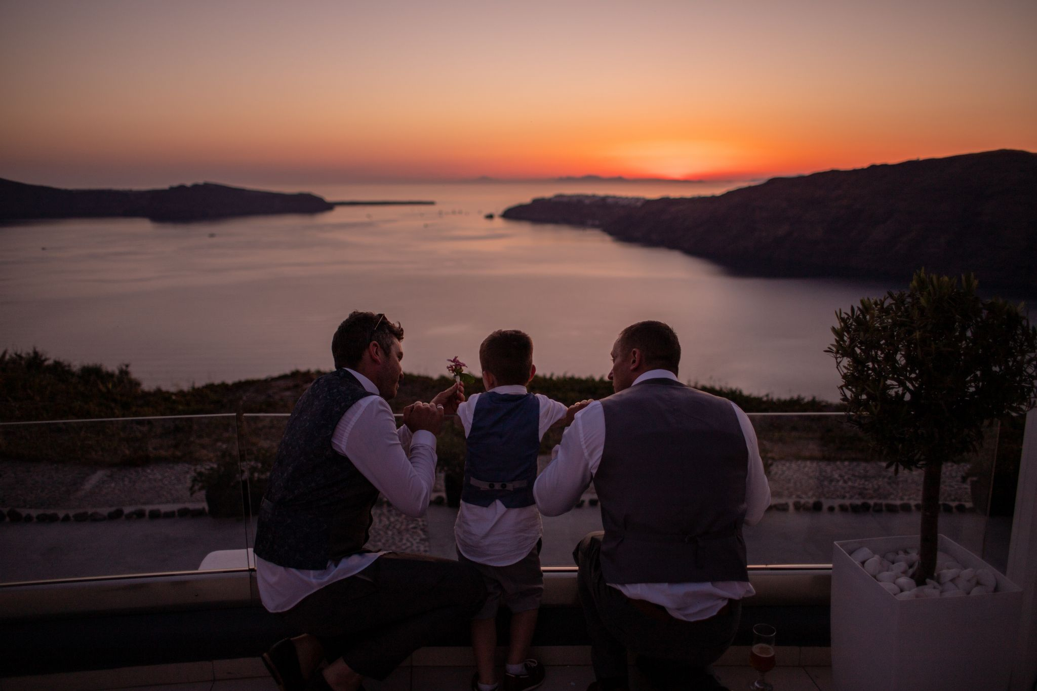 north east wedding photographer hannah layford wedding photography santorini wedding groom son and best man