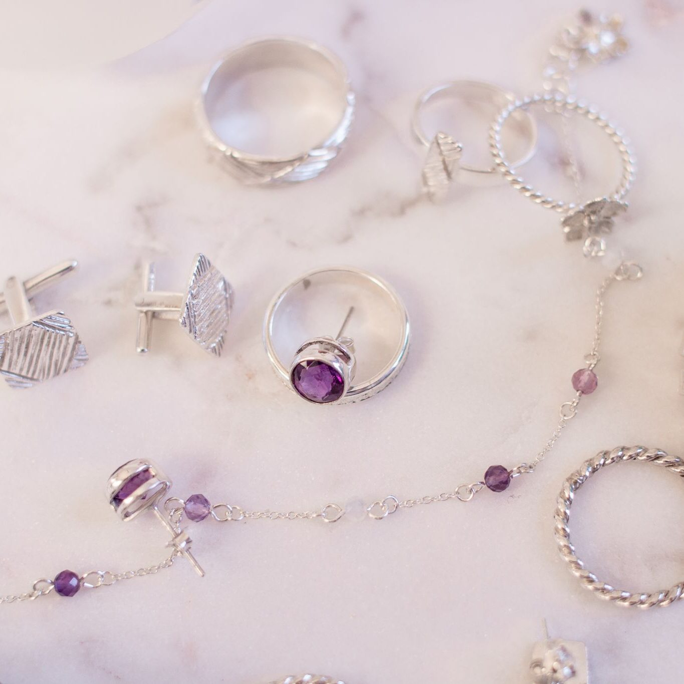 african tulip jewellery product lifestyle flat lay christmas amethyst